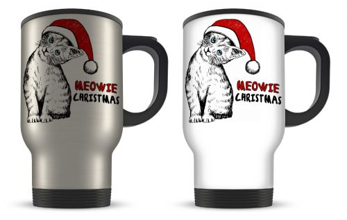 14oz Meowie Christmas Cat Sketch Cute Christmas Novelty Gift Aluminium Travel Mug